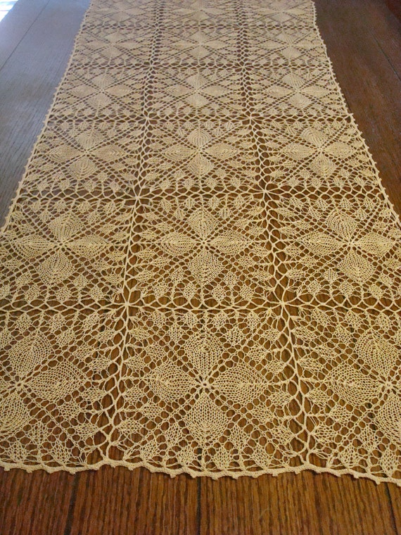 Summer Sale Hand Knitted Table Runner Tan Color