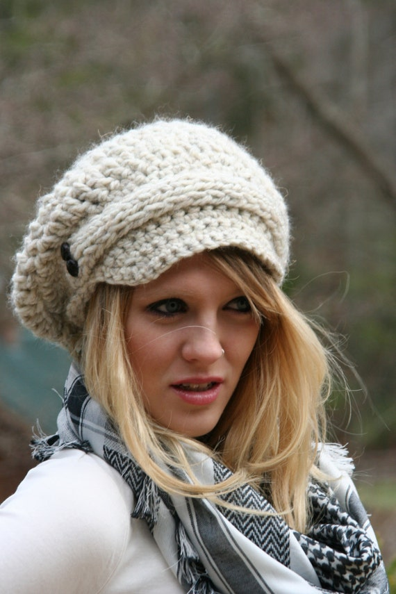 RESERVED for Carolyn Newsboy Slouchy Hat / THE EVREUX / Hand Crocheted With Knitted Front Strap and Two Buttons On Each Side Wheat White