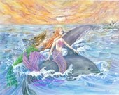 Mermaid Art, Purple, Green Mermaids and Dolphins Riding Waves Mermaid Art Print , 8 x 10 art  print