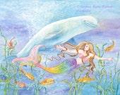 Mermaid art, Mermaid with Rainbow-Colored Tail and Beluga Whale in underwater fantasy scene mermaid art print,8 x 10  art  print