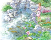Girl in  Pink Dress by a Pond with Waterfall and Goldfishes art print,  11 x 14 art print
