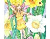 Fairy art, Yellow, White Daffodils,Garden Snails, Lady bug, Fairy Art Print, 8x10 art print