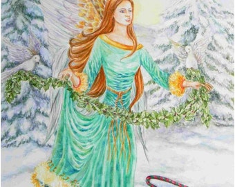 Angel Art, Christmas Holly Angel in Emerald Green Gown holding a Garland  of Holly Berries and Doves angel art print, 8 x 10 art  print