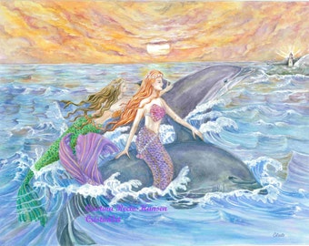 Mermaid Art , Mermaids in Purple and Green Tails with Dolphins Riding Waves at Dusk Mermaid art print, 13.5x 10.25 inches art print