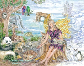 Fairy Art , Animals Fairy in Zebra Print Dress with Baby Wild Animals Fairy Art print  11 x 14 inches  art print