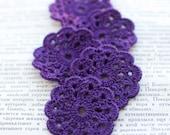 Set of 5 crochet flower appliques Purple Birthday party Decoration Wedding Embellishment