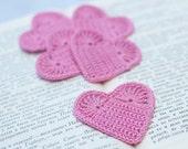 Set of 5 Crochet hearts applique Wedding decoration embellishment Pink Valentine's day