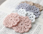 Set of 8 crochet flower appliques - Pale Pink, White, Lavender, Beige - Pastel - Birthday Party decoration Wedding decor