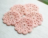 Set of 5 crochet flower appliques Apricot Pastel Birthday Party Decoration Wedding decoration Embellishment