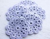 Set of 5 crochet flower appliques Lavender Birthday party Decoration Embellishment Wedding
