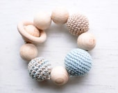 Teething toy Teether Wooden bead crochet toy - Mint blue, beige