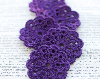 Set of 5 crochet flower appliques Purple Birthday party Decoration Wedding Embellishment