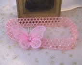 Pretty Sparkly Pink Butterfly Beaded Headband.............Toddler, Big Girl Headband