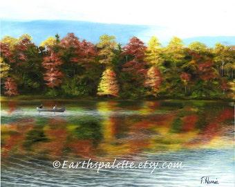 Landscape oil painting lake fall painting 8x10 print home & garden home decor earthspalette