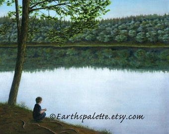 """Landscape painting 8x10 print from original oil painting """"Bass Lake, NC"""" earthspalette"""
