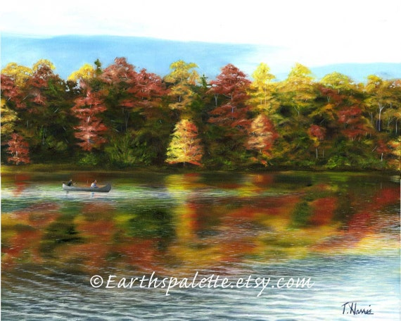 Landscape oil painting lake fall painting 8x10 print home & garden home decor earthspalette