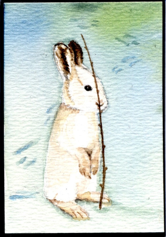 Snow Hare, ACEO, Original 2.5x3.5 Watercolor Painting. Rabbit, Wildlife, ATC. Earthspalette