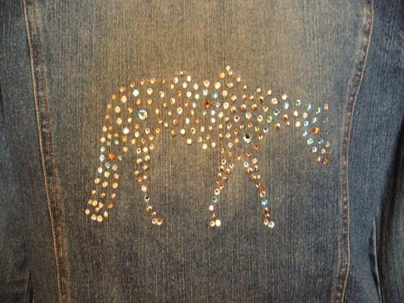 Swarovski Crystal embellished Hollister denim jacket NWOT, BEAUTIFUL Loping Horse Design