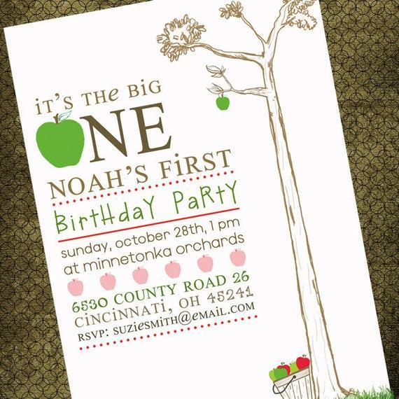 Birthday Invites // Unique & Chic Apple Tree Design // It's the Big One