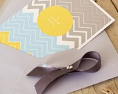 Valentine's Card - I love You - single folded white card chevron pattern blue, yellow, grey