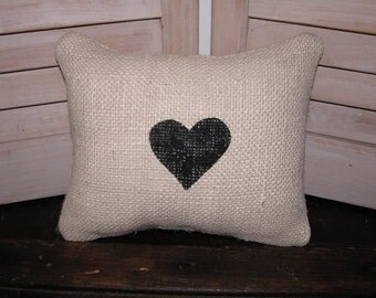 Mini Burlap Heart Pillow FREE SHIPPING- Valentine Pillow- Decorative Pillow- Burlap Pillow- Contemporary Pillow-Black and White Pillow-