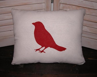 Red Bird Pillow FREE SHIPPING- Decorative Pillow- Accent Pillow- Contemporary Pillow- Red- Modern Pillow
