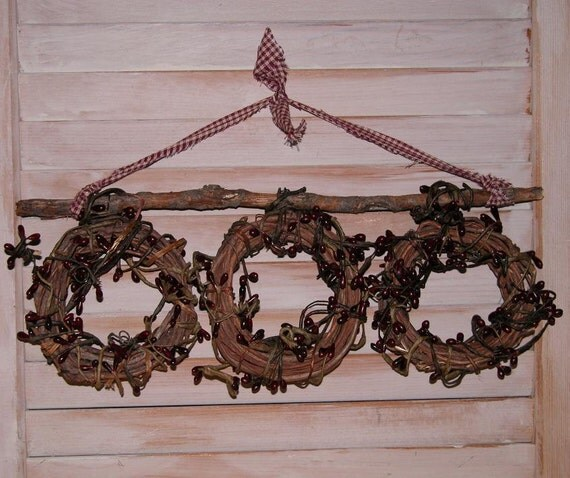 Primitive Berry  Wall Decor FREE SHIPPING- Primiitve Wall Decor- Primitive- Triple Berry Wreath