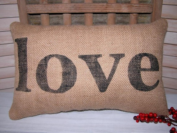 Love Pillow FREE SHIPPING- Burlap Love Pillow - Rustic Wedding- Decorative Pillow- Burlap Pillow-Wedding Gift- Burlap- Burlap Pillows- love