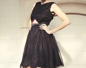 "Black satin & organza dress . ""Formation"" . CUSTOM"