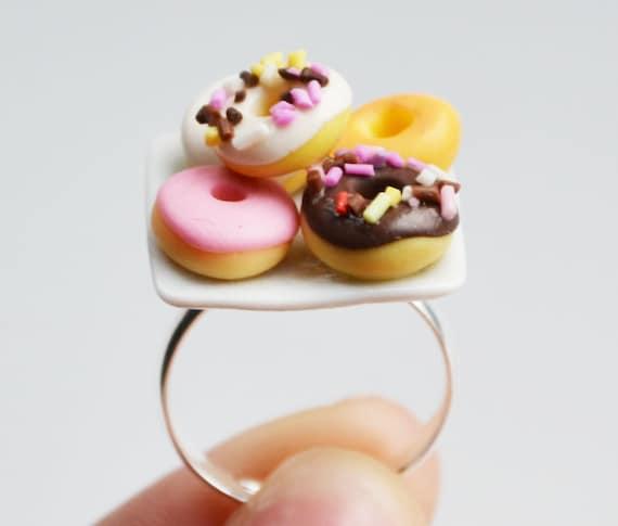 Doughnut Donut Ring, Miniature, Fimo, Polymer Clay