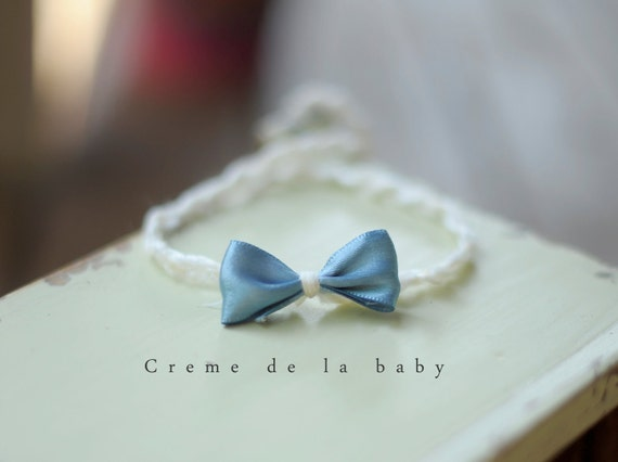Blue Bow Newborn Headband Tie Back Photography Prop
