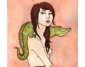 "Alligator Lady Pin Up Art - Pinup girl art- Girl Art -Watercolor Painting - Print - Illustration - 8"" x 10"""