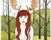 Pin Up Art - Pinup girl art- Woodland Antler Girl  with Bird Skull Necklace - Giclee - Watercolor Print - 8x10