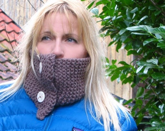 SALE - Knitted scarflette - two button cowl/scarf - taupe brown