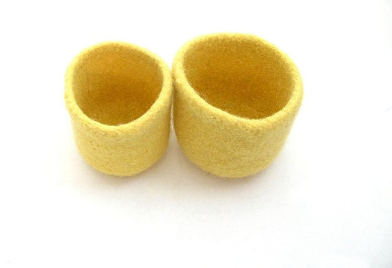 WOOLY FELTED BOWLS --two felted bowls in bright yellow