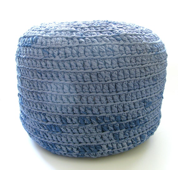 Crochet Ottoman : Crocheted Pouf -ottoman, foot stool, floor pillow - crocheted with ...