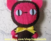 Siamese cat ornament - pink/brown