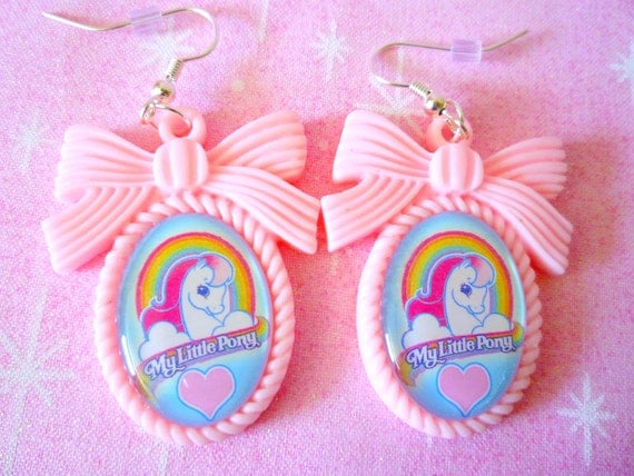 Pink My Little Pony Bow Cameo Earrings
