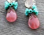 SALE Caroline Earrings - Pink and Turquoise Flowers with Embossed Vintaj Brass was 25.00
