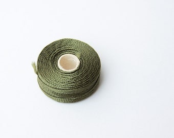 240 Yards Dark Green Nylon Cord -3 ply- set of 8 Nylon Beading Cord, Jewelry cord, S Lon Cord, conso, jewelry string, green cord, waxed cord