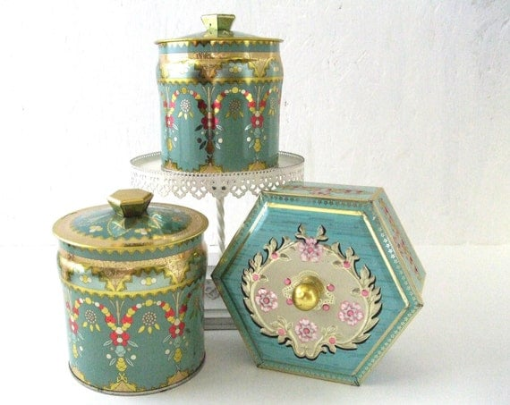 3 Vintage Tins Made in England Teal Pink and Gold