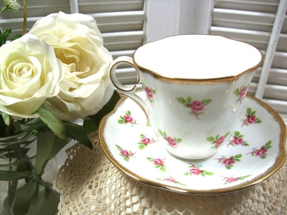 Victoria Teacup and Saucer Bone China Vintage