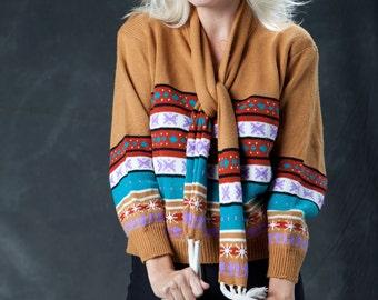 Vintage Rust Orange Winter Scarf Sweater