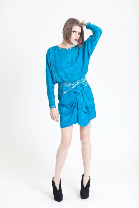 Vintage Mad Men Style Teal  Sequin Beaded Mini Dress with Side Ruffle and Dolman Sleeves