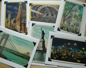 Set of Six Handmade New York City Cards With Envelopes