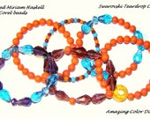6 Piece Recycled Vintage Haskell Orange Coral Glass Bead Bracelets