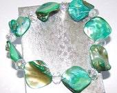 Clearance Sale... Shell & Crystal Stretch Bracelet