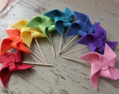 Felt Pinwheel Cupcake Toppers - set of 12 - pick your colors