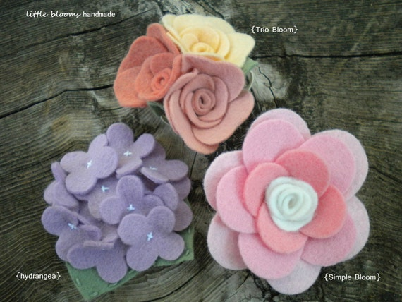 Design Your Own Felt Flower Headband or Hair Clip - you choose your style and colors - Sports Team Colors