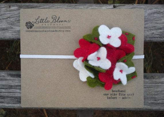 Felt Flower Headband - Christmas Hydrangea - red white and green wool felt hydrangea on elastic headband